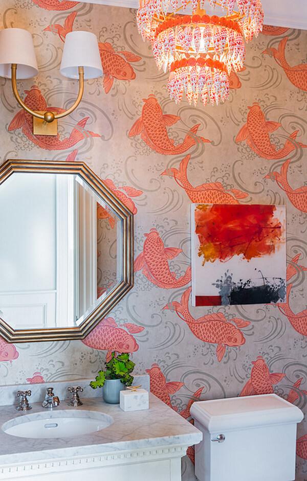 Fish Pattern Wallpaper - Bathroom Ideas Vancouver