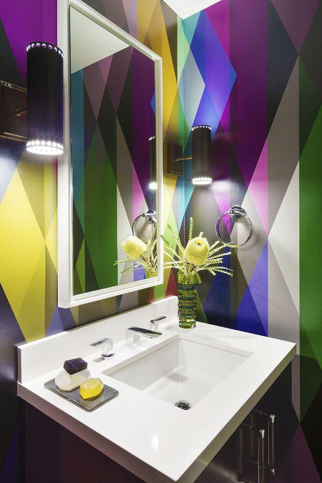 Geometric Print Wallpaper - Bathroom Ideas Vancouver